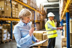 Senior woman manager and man worker working in a warehouse. Senior women manager and a men worker working together in a warehouse Royalty Free Stock Photo