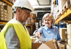 Senior woman manager and man worker working in a warehouse. Senior women manager and a men worker working together in a warehouse Royalty Free Stock Photography