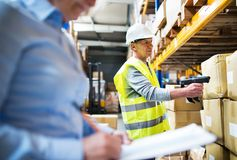Senior woman manager and man worker working in a warehouse. Unrecognizable senior women manager and a men worker with barcode scanner working together in a Royalty Free Stock Image