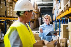 Senior woman manager and man worker working in a warehouse. Senior women manager and a men worker working together in a warehouse Stock Photography