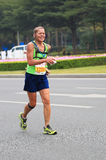 Senior woman marathon runner Royalty Free Stock Image
