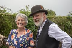 Senior woman and mature man outdoors royalty free stock photography