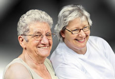 Senior woman and mature woman portrait Royalty Free Stock Images