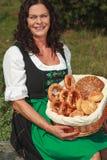 Senior Woman on the meadow stock photo