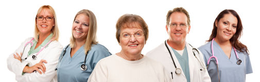 Senior Woman with Medical Doctors and Nurses Royalty Free Stock Photos