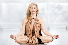 Senior woman meditating Stock Photos