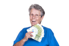 Senior woman with money Royalty Free Stock Photo