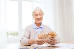Senior woman with money and papers at home Royalty Free Stock Image