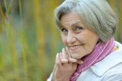 Senior woman on nature Royalty Free Stock Photos