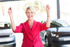 Senior woman new car Stock Photo