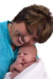 Senior woman with a newborn Royalty Free Stock Photo