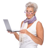 Senior woman with notebook Stock Photo