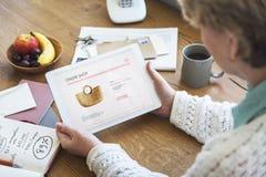 Senior Woman Online Shopping Retirement Concept Stock Photography