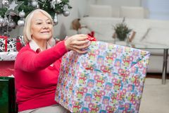 Senior Woman Opening Christmas Present Stock Photography