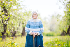 Senior woman in the orchard Royalty Free Stock Photos