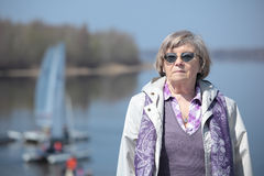Senior woman outdoors Royalty Free Stock Images
