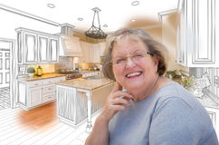 Senior Woman Over Custom Kitchen Design Drawing and Photo Stock Photography