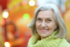 Senior woman in park Stock Photo