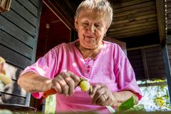 Senior woman pealing potatoes. Granny cooking delicous food Stock Photos