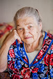 Senior woman pensive and worried Royalty Free Stock Photo
