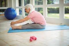 Senior woman performing stretching exercise at home. Happy senior woman performing stretching exercise at home Stock Photos