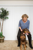 Senior woman with pet Doberman Stock Photo