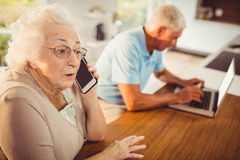 Senior woman on a phone call Stock Photo