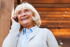 Senior woman on the phone. Royalty Free Stock Images