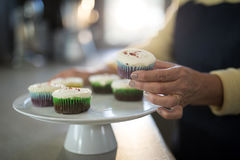 Senior woman picking up the cupcake from the tray Stock Photo