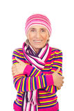 Senior woman in pink knitted clothes stock photo