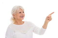Senior woman pointing Stock Images