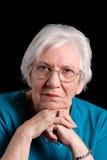 Senior woman portrait on black Royalty Free Stock Image