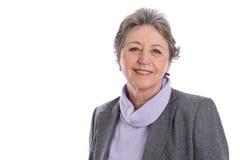 Senior woman portrait - elder woman isolated on white background Royalty Free Stock Photography