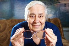 Senior woman portrait. Senior woman with glasses portrait. Retirement concept Stock Photography