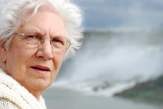 Senior woman portrait at Niagara falls Stock Photography