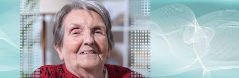 Senior woman portrait. panoramic banner stock photo