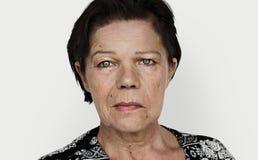 Senior woman portrait staring face Royalty Free Stock Photo