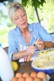 Senior woman preparing apple pie Stock Images