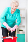 Senior woman preparing home for Christmas Royalty Free Stock Photo