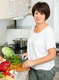Senior woman preparing salad Stock Images