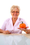A Senior Woman With A Pumpkin Stock Photos