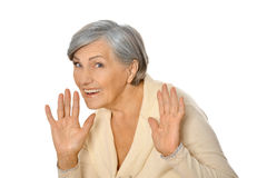 Senior woman  raised her hands Royalty Free Stock Photography
