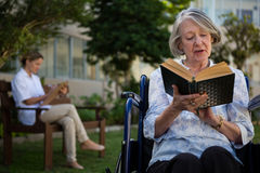 Senior woman reading book while doctor sitting in background. Senior women reading book while doctor sitting in background at park Stock Photography