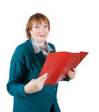 Senior woman reading documents Stock Image
