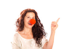 Senior woman with red clown nose Royalty Free Stock Images
