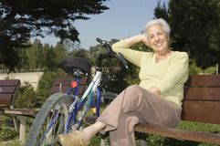 Senior woman relaxing Stock Images