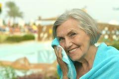 Senior woman at resort vacation Royalty Free Stock Images