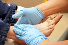 Senior Woman`s Foot Exam Stock Photos