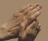 Senior woman's hands Stock Image