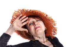 Senior Woman Saluting Royalty Free Stock Photo